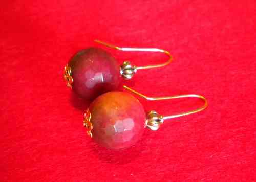Pendientes dormilonas bola natural facetada multicolor